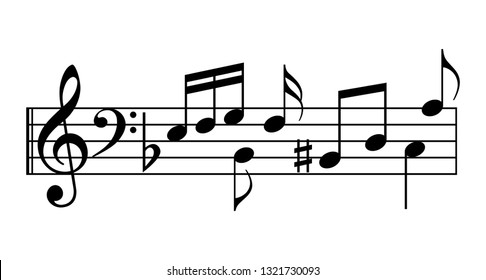Music notes and staff vector icon isolated on white background