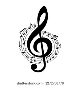 Music notes in swirl, musical design element, vector illustration.
