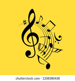Music notes swirl vector icon illustration isolated on yellow background