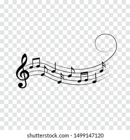 Music notes with swirl, vector illustration.