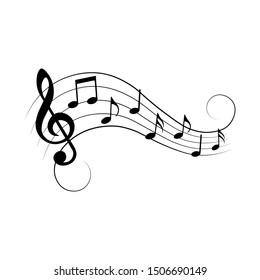 Music notes with swirls, music background, vector illustration.