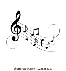 Music notes with swirls, isolated, vector illustration.