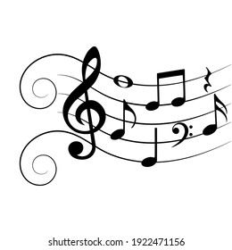 Music notes with swirls, musical background, vector illustration.