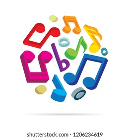Music notes. Music notes symbol vector illustration. Musical concept logo.