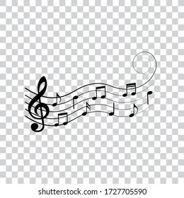 Music notes, symbols, design elements, vector illustration.