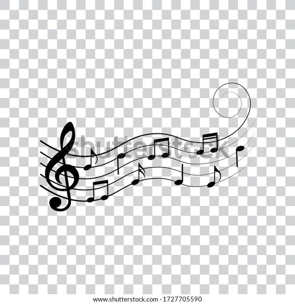 Music notes, symbols, design elements, vector illustration.