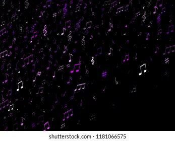 Music notes symbols flying vector design. Notation melody record classic pictograms. Funky music studio background. Violet musical notation.