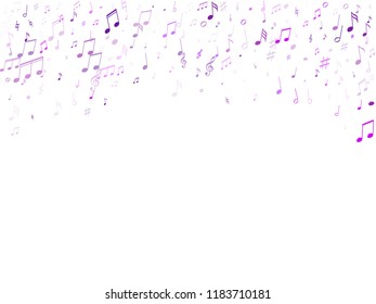 Music notes symbols flying vector illustration. Notation melody record classic pictograms. Jazz music studio background. Violet musical notation.