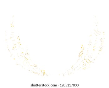 Music notes symbols flying vector background. Notation melody record classic clip art. Futuristic music studio background. Gold metallic melody sound notes icons.