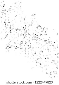 Music notes symbols flying vector design. Notation melody record classic clip art. Party banner background. Gray scale musical note.