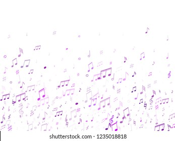 Music notes symbols flying vector design. Notation melody record silhouettes. Funky music studio background. Purple violet melody sound notation.