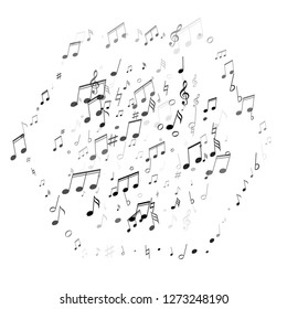 Music notes symbols flying vector illustration. Notation melody record classic icons. Funky music studio background. Gray scale sound recording notes.