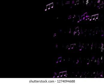 Music notes symbols flying vector illustration. Notation melody record clip art. Jazz music studio background. Violet musical notation.