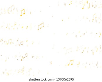 Music notes symbols flying vector background. Notation melody record classic elements. Piano instrument tune background. Gold melody sound notation.