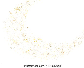 Music notes symbols flying vector design. Notation melody record icons. Disco music studio background. Gold melody sound notation.