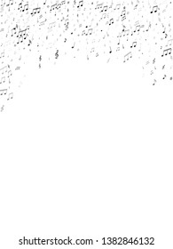 Music notes symbols flying vector design. Notation melody record classic pictograms. Abstract music studio background. Monochrome melody sound notation.