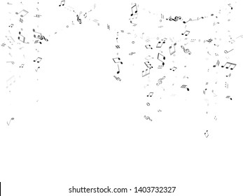 Music notes symbols flying vector design. Notation melody record silhouettes. Rock music studio background. Gray scale melody sound notes signs.