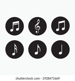Music notes symbols. Music notes icon vector set