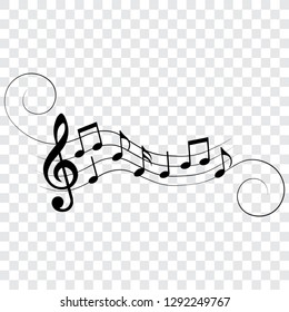 Music notes, symbols, musical design elements, vector illustration.