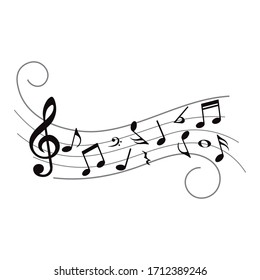 Music notes, symbols on wavy lines with curves, vector illustration.