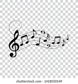 Music notes and symbols with swirl, vector illustration.