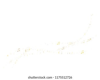 Music notes, treble clef, flat and sharp symbols flying vector design. Notation melody record pictograms. Jazz music studio background. Gold metallic musical notation.