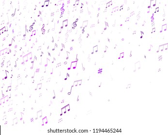 Music notes, treble clef, flat and sharp symbols flying vector design. Notation melody record classic signs. DJ instrument tune background. Purple violet musical note.