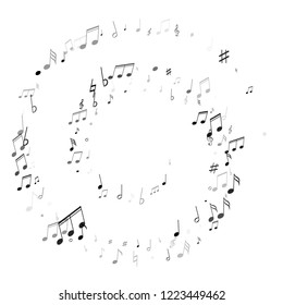 Music notes, treble clef, flat and sharp symbols flying vector illustration. Notation melody record silhouettes. Bass guitar play background. Black on white melody sound notation.