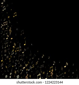 Music notes, treble clef, flat and sharp symbols flying vector design. Notation melody record classic elements. Artistic music studio background. Gold metallic melody sound notation.