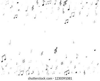 Music notes, treble clef, flat and sharp symbols flying vector design. Notation melody record classic pictograms. Audio album background. Gray scale melody sound notation.