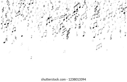 Music notes, treble clef, flat and sharp symbols flying vector background. Notation melody record classic icons. Tune radio wave background. Monochrome melody sound notes.
