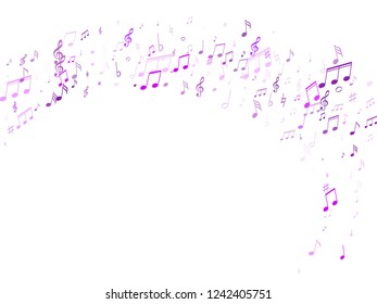 Music notes, treble clef, flat and sharp symbols flying vector design. Notation melody record classic signs. Artistic music studio background. Violet melody sound notation.