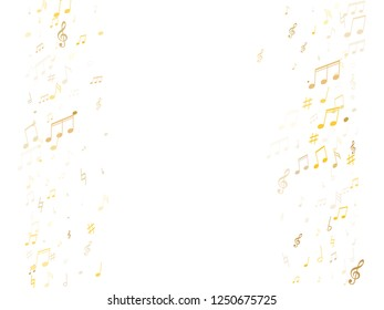 Music notes, treble clef, flat and sharp symbols flying vector design. Notation melody record concept. Abstract music studio background. Gold melody sound notation.