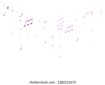 Music notes, treble clef, flat and sharp symbols flying vector design. Notation melody record pictograms. Funky music studio background. Blue violet melody sound notation.