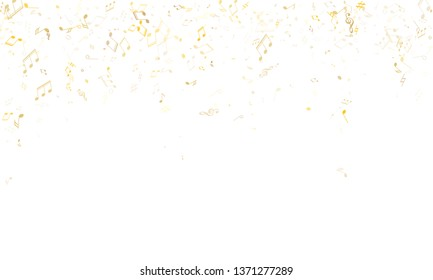 Music notes, treble clef, flat and sharp symbols flying vector background. Notation melody record elements. Tune composition background. Gold musical notation.