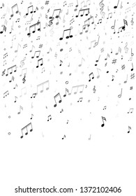 Music notes, treble clef, flat and sharp symbols flying vector illustration. Notation melody record classic concept. Tune radio wave background. Gray scale melody sound notes.