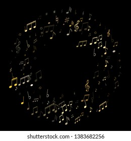 Music notes, treble clef, flat and sharp symbols flying vector background. Notation melody record classic elements. Popular music studio background. Gold metallic musical notation.