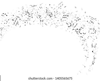 Music notes, treble clef, flat and sharp symbols flying vector background. Notation melody record silhouettes. Funky music studio background. Greyscale musical notation.