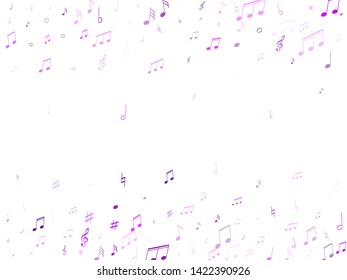 Music notes, treble clef, flat and sharp symbols flying vector illustration. Notation melody record classic icons. Concert poster backdrop. Violet melody sound notation.