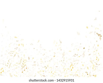 Music notes, treble clef, flat and sharp symbols flying vector illustration. Notation melody record classic pictograms. Jazz music studio background. Gold metallic musical notation.