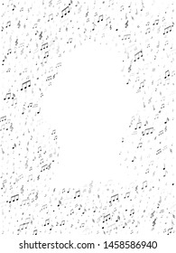 Music notes, treble clef, flat and sharp symbols flying vector design. Notation melody record elements. Concert poster backdrop. Black musical note.