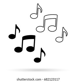 Music notes vector icon isolated on white background.