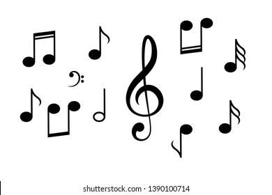 Music notes vector icon on white