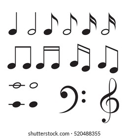 Music notes vector icon set. Black musical key signs.