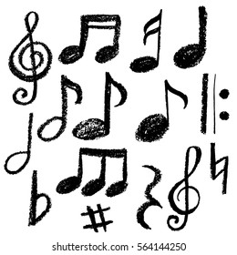 Music notes. Vector illustration, grunge style,imitation chalk,hand drawn
