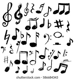 Music notes. Vector illustration, grunge style,hand drawn