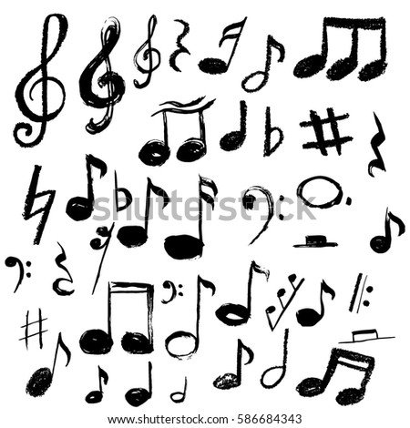 Music Notes Vector Illustration Grunge Stylehand Stock Vector