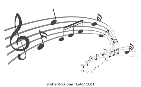 Music notes wave, black group musical notes – stock vector