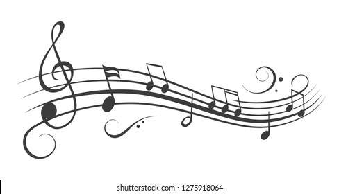 Music notes wave, black group musical notes – vector for stock