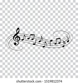 Music notes, music waves, musical design elements, vector illustration.